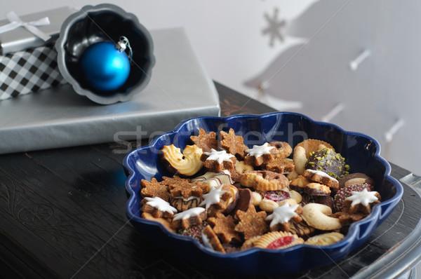 Christmas cookie przedstawia obiedzie tablicy vintage Zdjęcia stock © stickasa