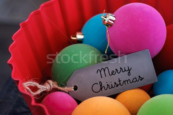 Colorful Christmas Balls and Marry Christmas Stock photo © stickasa