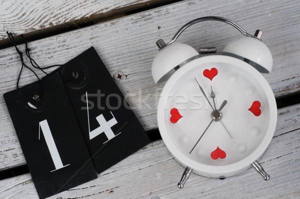 çalar saat 14 sevmek sevgililer günü saat arka plan Stok fotoğraf © stickasa