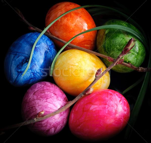 Zdjęcia stock: Kolorowy · Easter · Eggs · odizolowany · czarny · placu · format