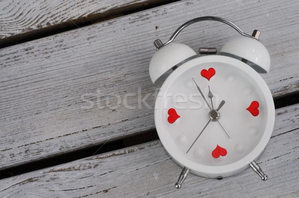 Budzik serca miłości zegar tle czasu Zdjęcia stock © stickasa