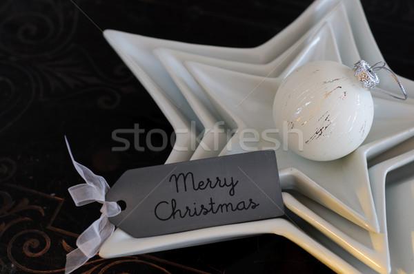 Christmas dar widelec biały obecnej uroczystości Zdjęcia stock © stickasa