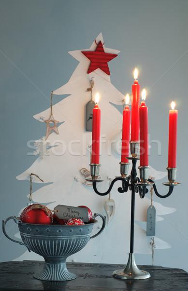 рождественская елка приход свечей огня свет домой Сток-фото © stickasa