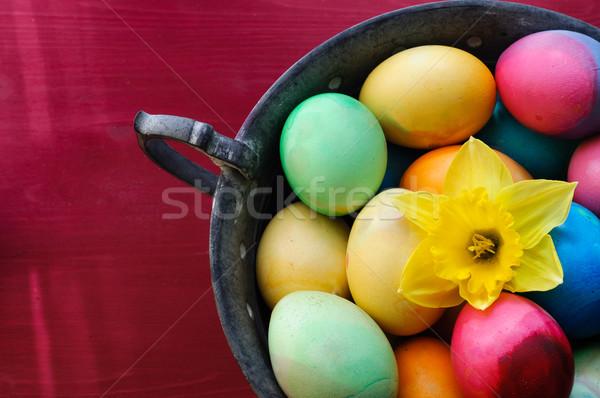 Zdjęcia stock: Kolorowy · Easter · Eggs · kubek · dekoracji · kwiat · jaj