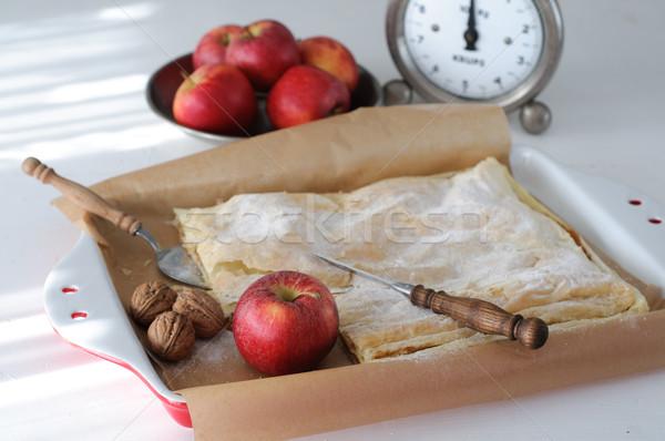 Сток-фото: яблочный · пирог · яблоки · Vintage · продовольствие · инструменты