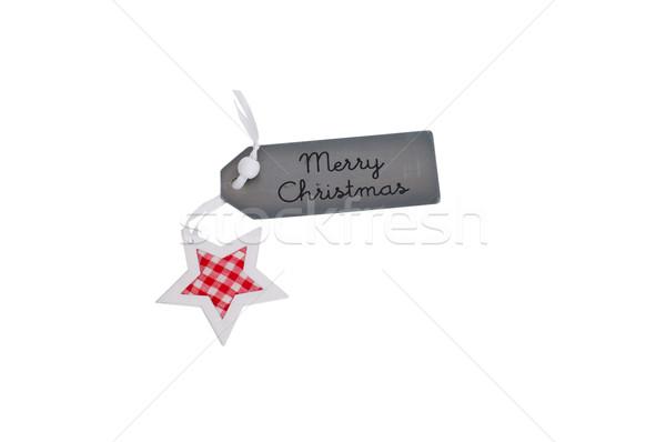Zdjęcia stock: Wesoły · christmas · dar · tag · star · odizolowany