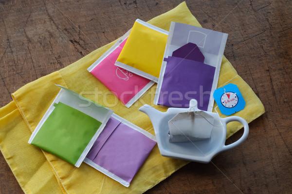 Zdjęcia stock: Kolorowy · herbaty · torby · czasu · zielone · pić