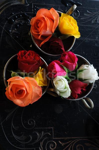 Zdjęcia stock: Vintage · róż · ślub · tle · biały