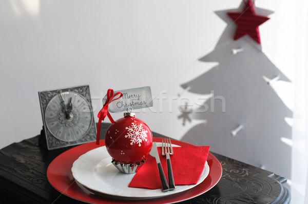 Christmas obiedzie tablicy vintage zegar choinka Zdjęcia stock © stickasa