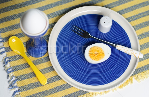 śniadanie jaj niebieski żółty kurczaka świeże Zdjęcia stock © stickasa