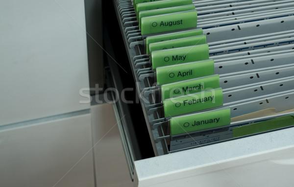 Dokumentów zorganizowany miesiąc wiszący plików pliku Zdjęcia stock © stickasa
