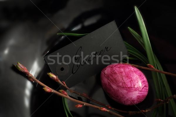 Сток-фото: Пасху · украшение · картона · черный · весны