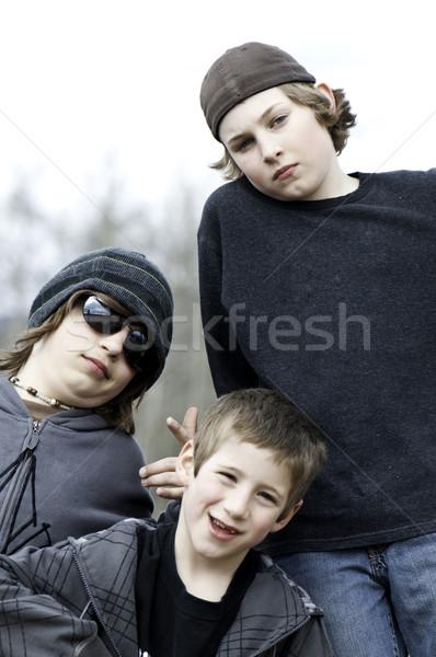 üç erkek birlikte bakıyor gözler Stok fotoğraf © stockfrank