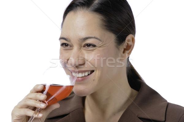 женщины питьевой вино счастливым большой Сток-фото © stockfrank