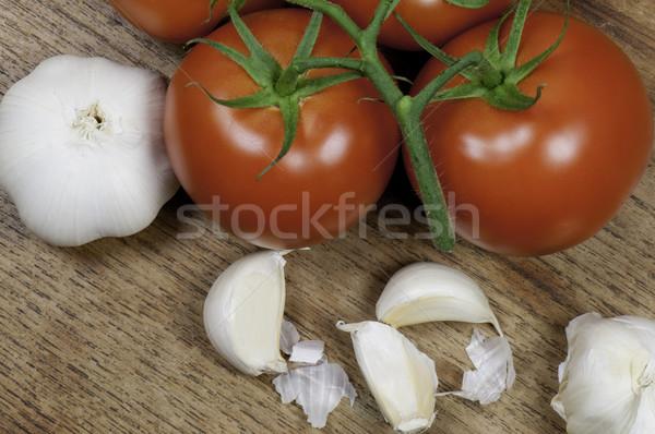 Top мнение помидоров чеснока деревянный стол красный Сток-фото © stockfrank