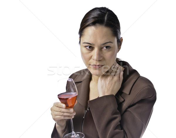женщины глядя мало печально стекла красный Сток-фото © stockfrank