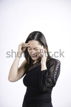 Nő rossz hírek fekete beszél telefon szomorú Stock fotó © stockfrank