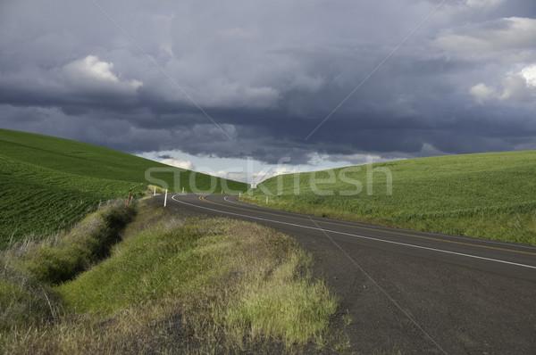 темно облака шоссе зеленый холмы Сток-фото © stockfrank