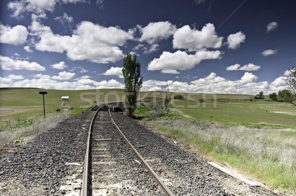 железная дорога трек облака большой пушистый поезд Сток-фото © stockfrank