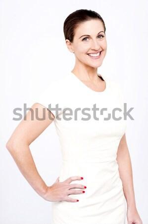 Terhes nő tart pocak fotó izolált fehér Stock fotó © stockyimages