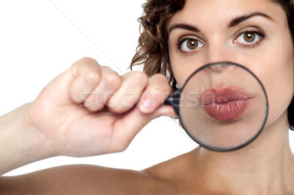 Lady увеличительное стекло губ выстрел Сток-фото © stockyimages