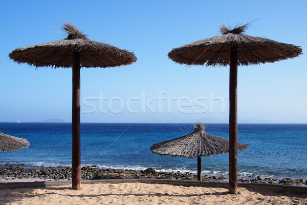 Empty beach with thatched-roof umbrellas Stock photo © stockyimages