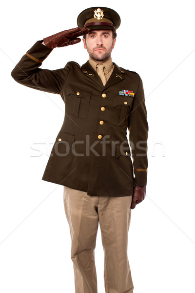 Army officer saluting, studio shot Stock photo © stockyimages