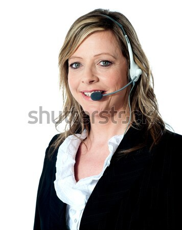 Konzerv segítség ügyfélszolgálat igazgató pózol nő Stock fotó © stockyimages