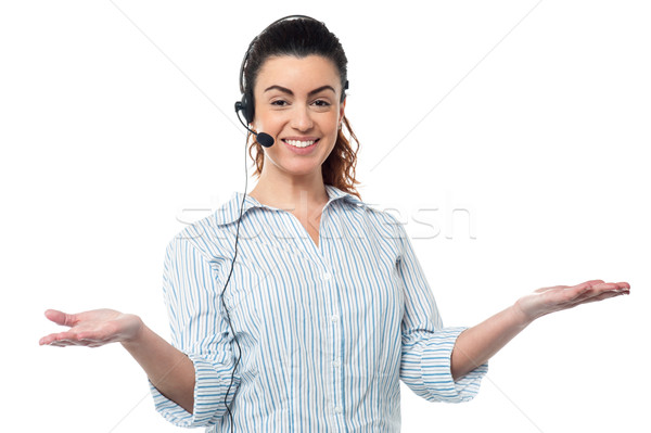 Smiling executive wearing headset Stock photo © stockyimages