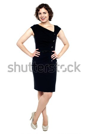 Beautiful young sensuality woman in black dress Stock photo © stockyimages