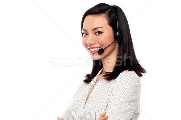 Female call centre executive Stock photo © stockyimages