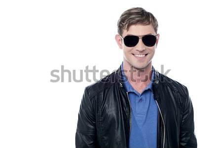 Guapo joven chaqueta de cuero jóvenes casual hombre Foto stock © stockyimages