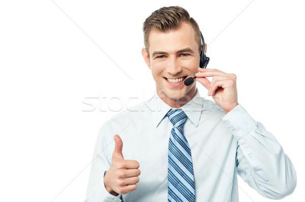Exploitant tonen glimlachend Stockfoto © stockyimages