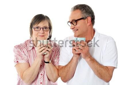 Romântico senior casal velho café retrato Foto stock © stockyimages