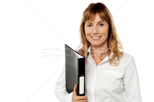 Pretty female executive posing over white Stock photo © stockyimages