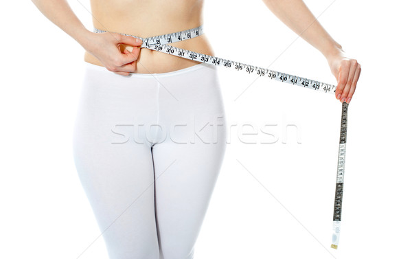 Woman measuring her abdomen Stock photo © stockyimages