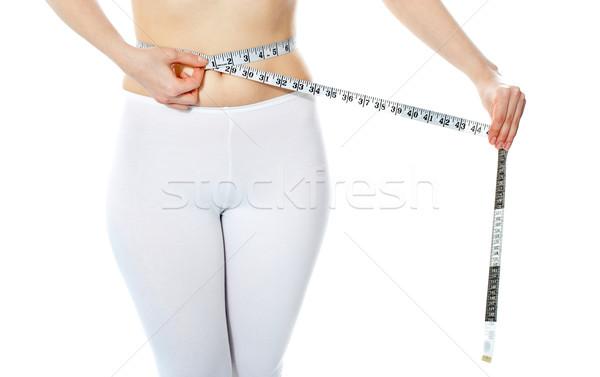 Frau Abdomen isoliert weiß Fitness Stock foto © stockyimages
