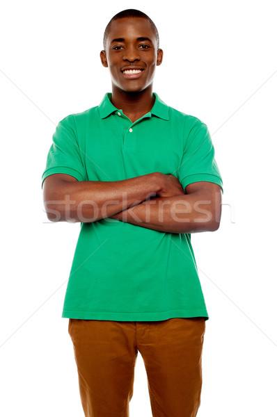 Mosolyog afrikai fickó karok fehér boldog Stock fotó © stockyimages