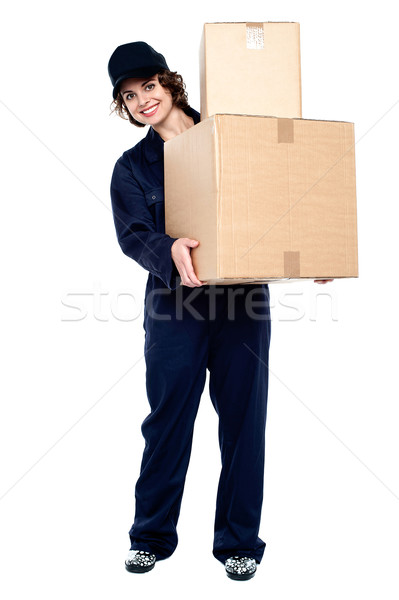 Mail woman delivering parcel Stock photo © stockyimages