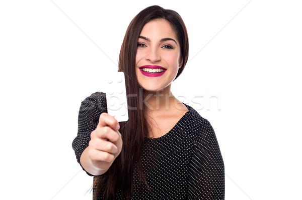 Tabletták orvos boldog fiatal nő mutat csomag Stock fotó © stockyimages