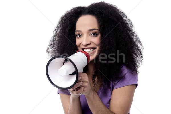Atención todo una buena noticia feliz femenino comunicación Foto stock © stockyimages