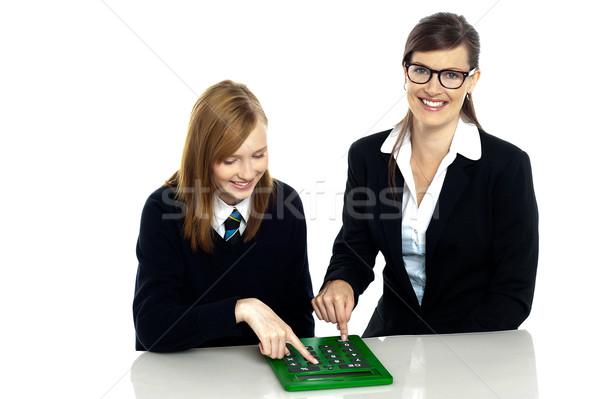 教師 学生 作業 電卓 かなり ストックフォト © stockyimages