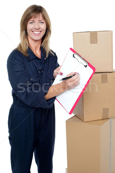 Sign here please and accept delivery of goods Stock photo © stockyimages