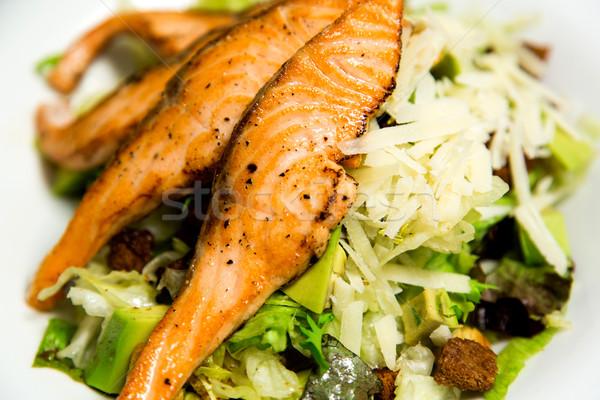 Fresh salmon steak, closeup image.  Stock photo © stockyimages