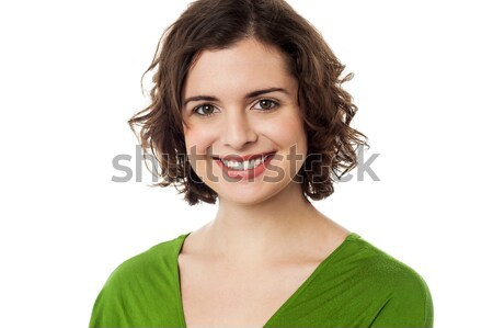 Joyous young caucasian lady in trendy casuals Stock photo © stockyimages