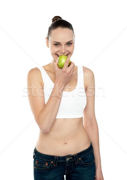 Foto stock: Mulher · da · aptidão · alimentação · verde · maçã · dia · médico