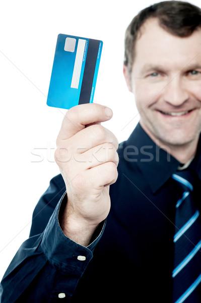 Nieuwe creditcard spoedig afbeelding mannelijke uitvoerende Stockfoto © stockyimages