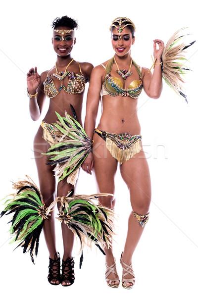 Kész tánc srácok portré csinos nő táncosok Stock fotó © stockyimages