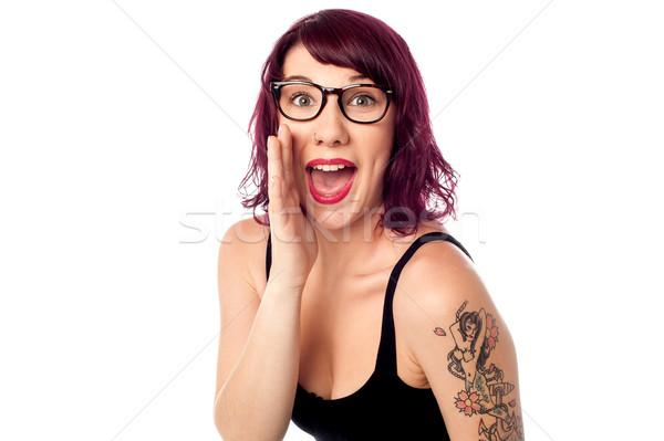 Ouvir segredo mina atraente adolescente Foto stock © stockyimages