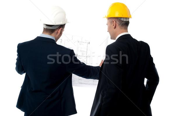 Foto stock: Masculina · ingenieros · atrás · vista · posterior · proyecto